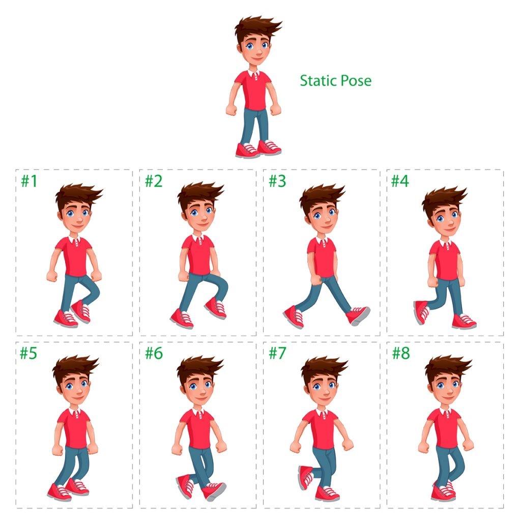انیمیشن پیاده روی پسر - هشت فریم راه رفتن + 1 استاتیک - شخصیت / فریم های جداگانه کارتونی