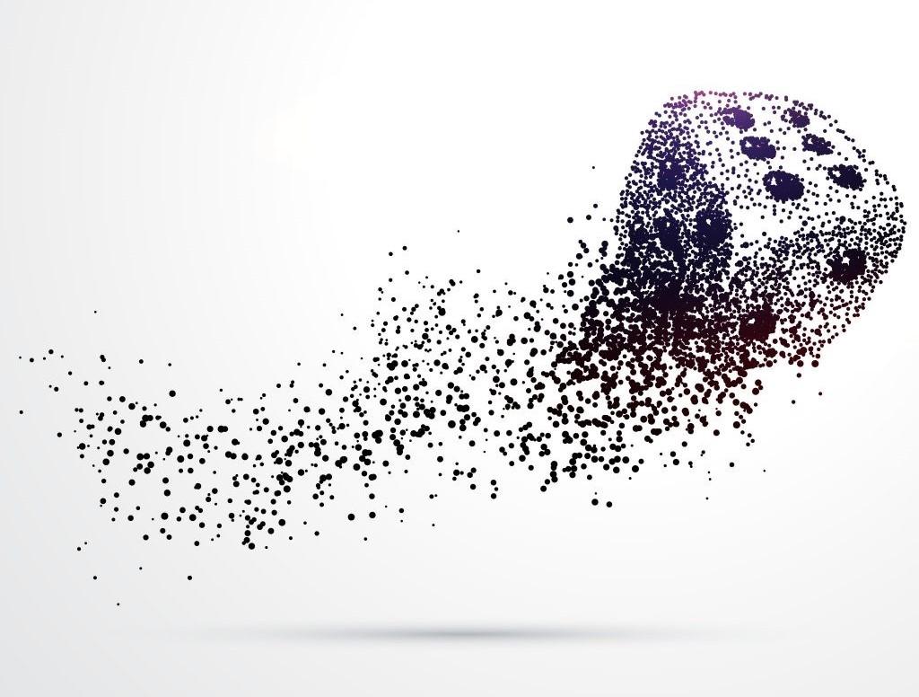 بازی تاس، ساخته شده با پس زمینه جریان ذرات