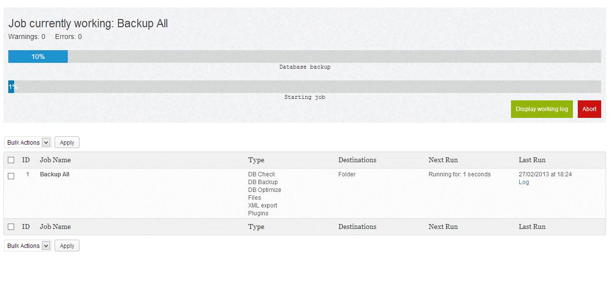 فرایند پشتیبان گیری BackWPup