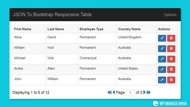 جدول جی کوئری JSON To Bootstrap Table